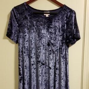 LuLaRoe Carly Med Velvet Blue Dress